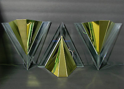 Set Of 3 Art Deco Style Sconces Light Fixture Glass & Gold Metal Triangle Eames