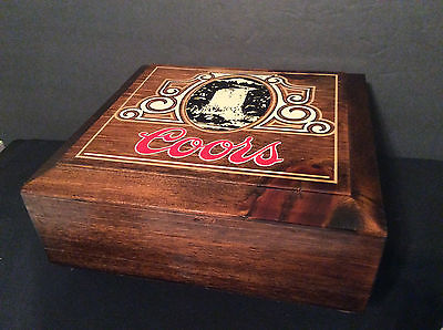 Wood Hinged Poker Chips Storage Box, Coors Beer Logo on cover