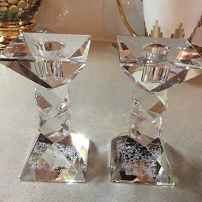 Oleg Cassini Set Of 2 Crystal Candlesticks