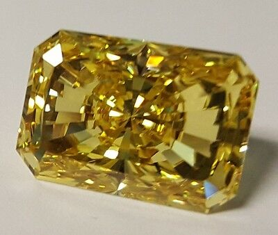 16 ct Radiant Cut Canary Vintage Stone Top CZ Moissanite Simulant 18 x 13 mm