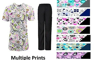 NWT Nursing Scrub Sets Sizes XS S M L XL 1X 2X 3X 4X Plus Medical Printed Scrubs