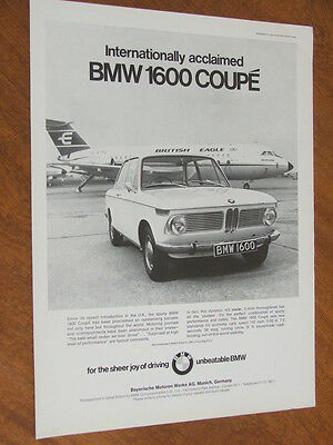 1967 BMW 1600 Coupe original UK large full page advertisement