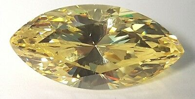 10 ct Canary Marquise Vintage Stone Top CZ Moissanite Simulant 24 x 12 mm