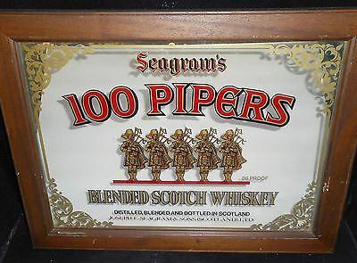 RARE Seagram's 100 Pipers Scotch Whiskey Bar Display Mirror ~ Man Cave