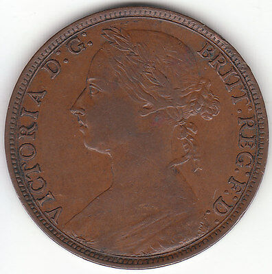 1893 Great Britain Queen Victoria 1 One Penny.  VF