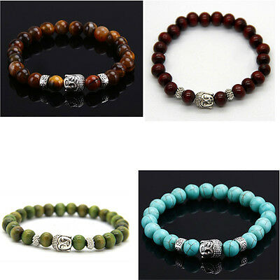 Buddhist Mala Hippie Prayer Meditation Beads bracelets with Buddha