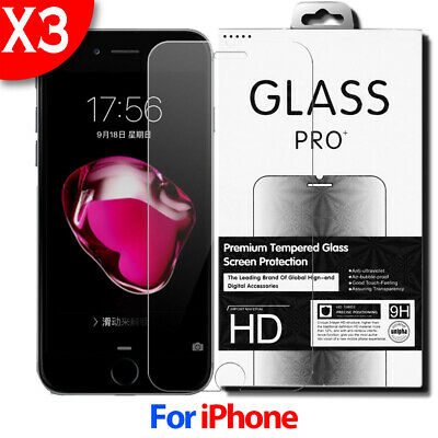 3-Pack For iPhone 11 Pro 7 8 Plus X Xs Max XR 5S Tempered GLASS Screen Protector