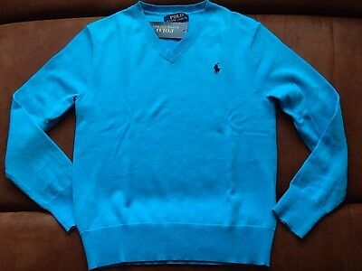 New With Tag Polo Ralph Lauren Boy's 100%Cotton V-neck Sweater. Size: Small (8)
