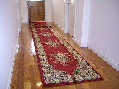 NEW Hallway Runner Hall Runner Rug 3 Metres Long Premium Quality Classic Red