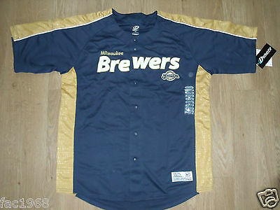 MLB Dynasty Serie Baseball Jersey Oberteil Hemd MILWAUKEE BREWERS Marine Gold XL