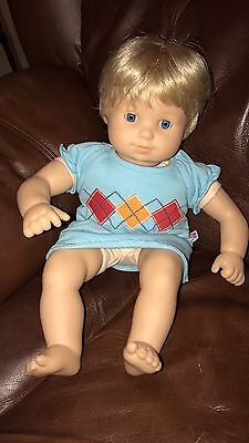 American Girl Doll Bitty Twin Boy Blonde Hair Blue Eyes Argyle Outfit