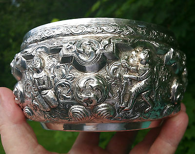 THAI sterling silver temple bowl vtg asian india embossed buddha tibetan art