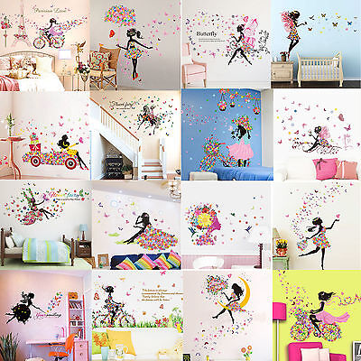 Girl Flower Removable Wall Art Sticker Vinyl Decal DIY Room Home Mural Decor