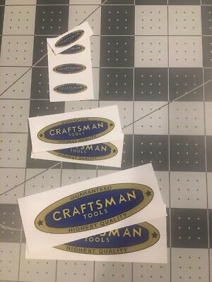 """Craftsman Tools 1938 vintage style decals blue gold yellow 1"""", 2-1/4"""", 3-3/8"""""""