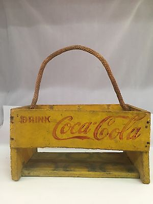 Vintage Wooden Coca Cola Six Pack Carrier With Rope Handle, 692-I
