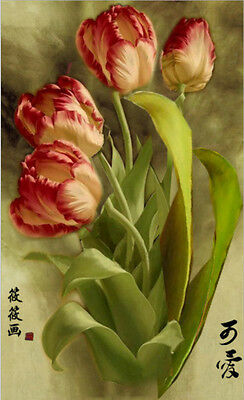 DIY Paint By Numbers 16*20 inches kit Oil Painting Vintage Tulip On Canvas 315