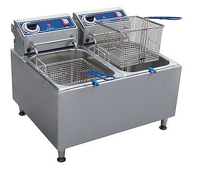 Globe PF32E 32lb Stainless Steel Electric Counter-top Fryer - Dual Tank