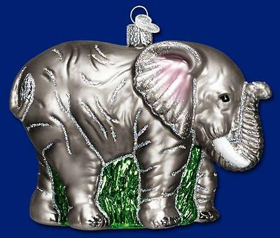 """Large Elephant"" (12159) Old World Christmas Glass Ornament - Free Gift Box!"