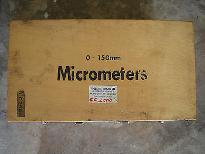 ENGINEERS MICROMETER SET 0 - 150mm 6pc OUTSIDE CALIPER PRECISION MEASURING TOOLS