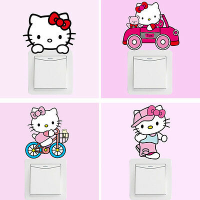 Cartoon Pink 10pcs Hello Kitty Cat Switch Stickers Bedroom Wall Stickers For Kid