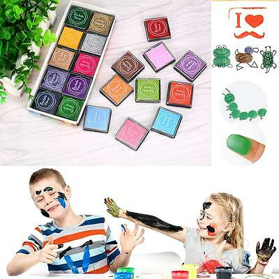 Kids 20pcs Colorful DIY Craft Finger Print Ink Pad Rubber Stamps  InkPads Toys
