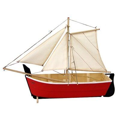 Vintage Weathered Wood & Metal 44cm Sailboat Ship Toy Model Floats Red / White
