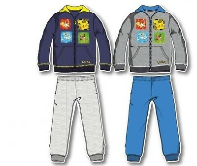 New boys licensed Pokemon tracksuit jogging suit blue grey 4-12 years bnwt