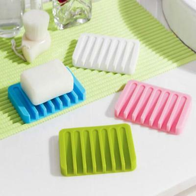 Flexible Bathroom Silicone Soap Dish Storage Holder Soapbox Plate Tray Drain FW
