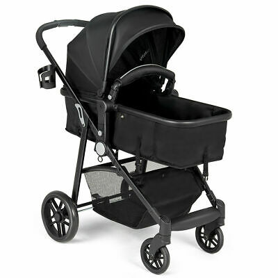 2 In1 Foldable Baby Stroller Kids Travel Newborn Infant Buggy Pushchair Black