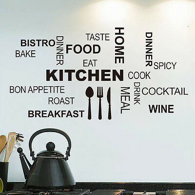 DIY Quote Mural Words Art Vinyl Wall Stickers Home Kitchen Room Decal Decoration