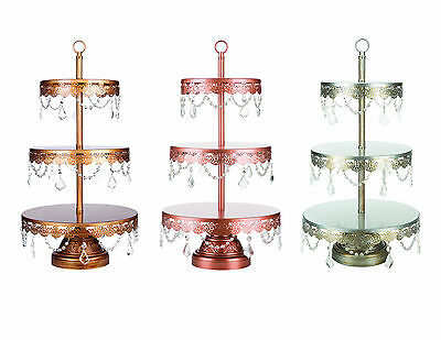 3-Tier Crystal-Draped Dessert Stand | Gold | Sophia Collection