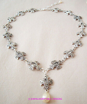 Elaborate Silver Gothic Tudor  Maltese Cross Necklace  Larp Sca Rennaissance