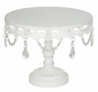 """Beautiful White  10"""" /25cm Crystal-Draped Cake Stand 