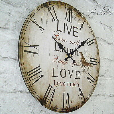 Large Vintage Live Laugh Love CLOCK Round Wooden Rustic wall CLOCK Home Deco