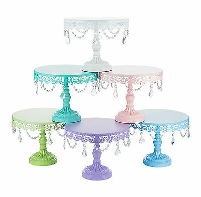 "Stunning  10""/25cm Crystal-Draped Cake Stand 