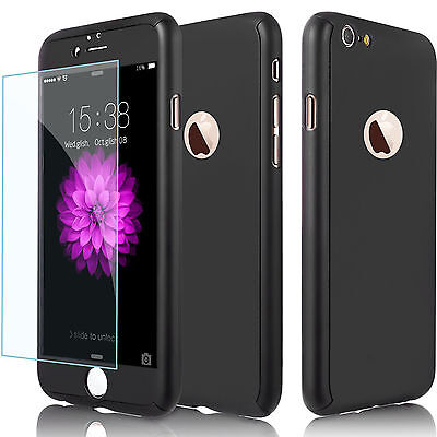 360°Full Body PC Protective Case Cover Skin +Tempered Glass For Apple iPhone