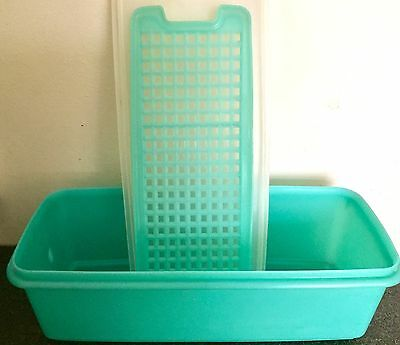Vintage Tupperware Stay Fresh Salad Container Jade Green