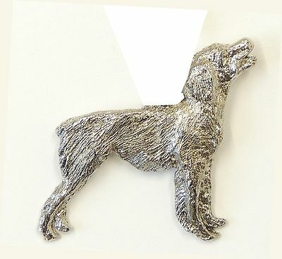 Brittany Spaniel Brooch, Silver Plated