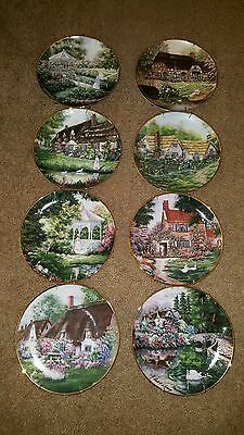 Violet Schwenig Franklin Mint Cottage Collectible Plate Set 8, With Wall Hangers