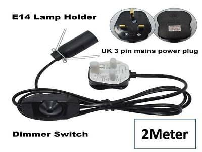 Salt Lamps Lead Replacement Electrical Fittings Cord with Dimmer UK Pin 2M