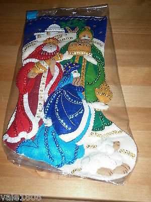 Bucilla Completed Christmas Stocking  3 Wise Men   41cm