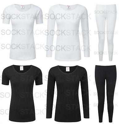 Ladies Black White Thermals, Warm Winter Thermal Baselayers Range, Size 10-24
