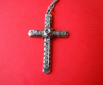 RARE  imperial Russian Orthodox Silver Cross  with real Diamonds,  84 hallmark