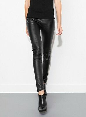 Uterque 100% Real Leather Black Leggings Size S UK 8-10