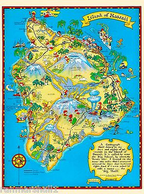 Hawaii Hawaiian Big Isle Map United States America Travel Advertisement Poster