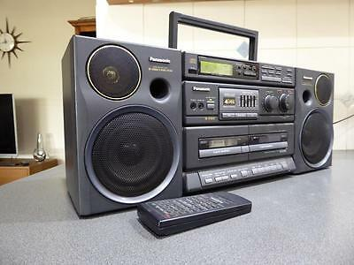 Vintage Panasonic RX-DT680 Boombox Radio Dual Cassette CD Portable Stereo REMOTE
