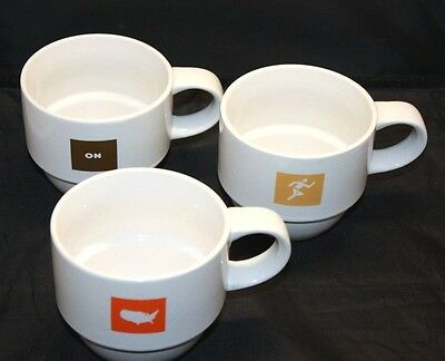 Dunkin Donuts 2007 Stackable Coffee Mugs Partial Set of 3 America Runs on Dunkin