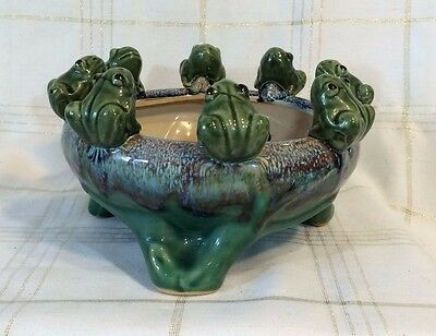 Lucky Frogs! VINTAGE Art POTTERY Glazed BOWL LILYPAD POND sculpture art