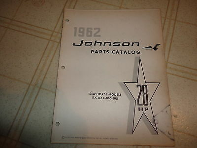 1962 Johnson 28 HP RX RXL 10c 10r Outboard Parts Catalog Manual