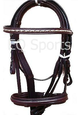 FREE P&P Stunning Value Gold Piped Bridle With Webb Reins Full Brown !!